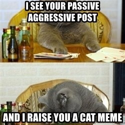 Poker Cat - I see your passive aggressive post  and I raise you a cat meme