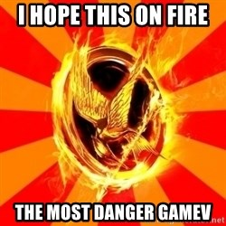 Typical fan of the hunger games - I hope this on fire  the most danger gamev