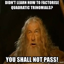 Gandalf You Shall Not Pass - DIDN'T LEARN HOW TO FACTORISE QUADRATIC TRINOMIALS? YOU SHALL NOT PASS!