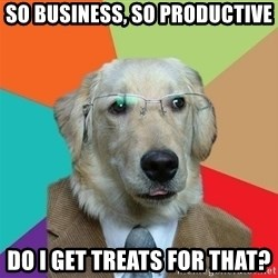 Business Dog - So Business, So productive Do I get treats for that?