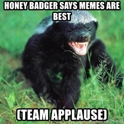 Honey Badger Actual - Honey badger says memes are best (team applause)