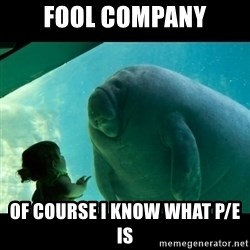 Overlord Manatee - Fool company of course i know what P/E is