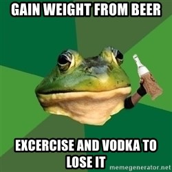 Foul Bachelor Frog (Alcoholic Anon) - Gain weight from beer Excercise and Vodka to lose it