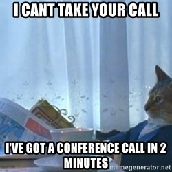 newspaper cat realization - I cant take your call I've got a conference call in 2 minutes