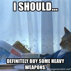 newspaper cat realization - I should... definitely buy some heavy weapons.