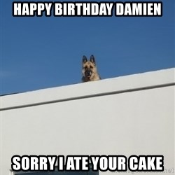 Roof Dog - HAPPY BIRTHDAY DAMIEN SorRY I ATE yoUR CAKE