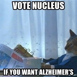 newspaper cat realization - vote nucleus  if you want Alzheimer's