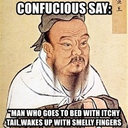 "Confucious - Confucious say: ""Man who goes to bed with itchy tail,Wakes up with smelly fingers"