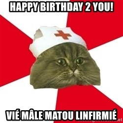 Nursing Student Cat - HAPPY BIRTHDAY 2 YOU! VIÉ MÂLE MATOU LINFIRMIÉ