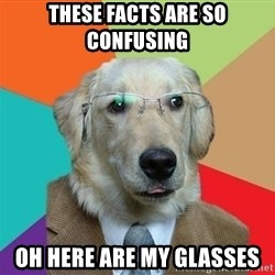 Business Dog - These facts are so confusing oh here are my glasses