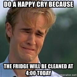 James Van Der Beek - Do a happy cry because The fridge will be cleaned at 4:00 today
