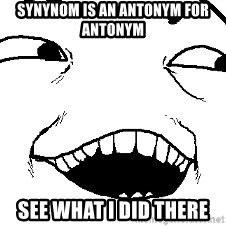 I see what you did there - Synynom is an antonym for antonym See what i did there