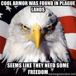 Freedom Eagle  - Cool Armor was found in plague lands Seems like they need some freedom