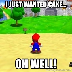 Mario looking at castle - I just wanted cake... oh well!