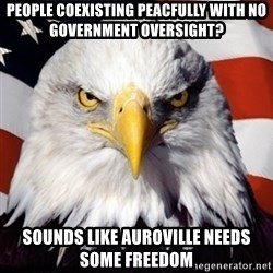 Freedom Eagle  - People coexisting peacfully with no government oversight? Sounds Like Auroville Needs Some Freedom