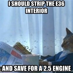 newspaper cat realization - I should strip the e36 interior And save for a 2.5 engine