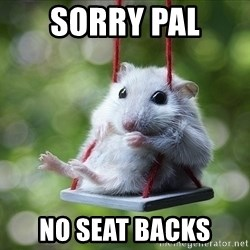 Sorry I'm not Sorry - sorry pal  no seat backs
