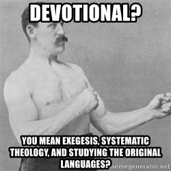 overly manly man - devotional?  you mean exegesis, systematic theology, and studying the original languages?