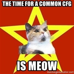 Lenin Cat Red - THE TIME FOR A COMMON CFG IS MEOW