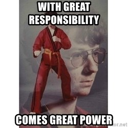 Karate Kid - WIth great     responsibility comes great power