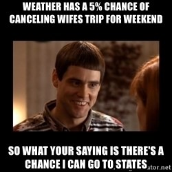 Lloyd-So you're saying there's a chance! - Weather has a 5% chance of canceling wifes trip for weekend So what your saying is there's a chance i can go to states