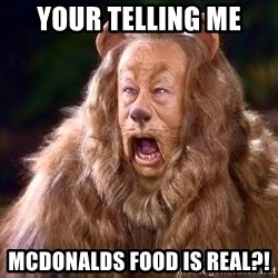 Cowardly Lion - your telling me mcdonalds food is real?!