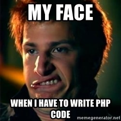 Jizzt in my pants - my face when i have to write php code