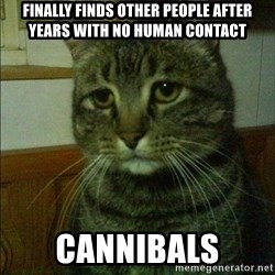 Depressed cat 2 - finally finds other people after years with no human contact cannibals