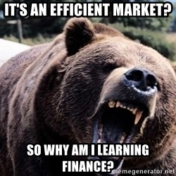 Bear week - It's an Efficient Market? So Why Am I Learning Finance?