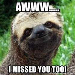 Sarcastic Sloth - Awww..... I missed you too!