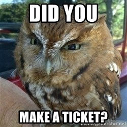 Overly Angry Owl - Did you make a ticket?