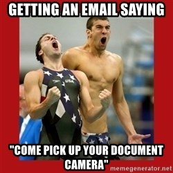 """Ecstatic Michael Phelps - Getting an email saying """"come pick up your document camera"""""""