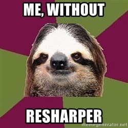 Just-Lazy-Sloth - ME, WITHOUT RESHARPER