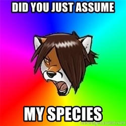 Advice Furry - did you just assume my species