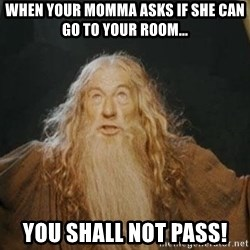 You shall not pass - When your momma asks if she can go to your room... YOU SHALL NOT PASS!