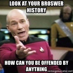 Why the fuck - look at your broswer history how can you be offended by anything