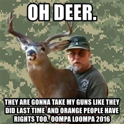 Chuck Testa Nope - Oh Deer. They are gonna take my guns like they did last time  and orange people have rights too.  oompa loompa 2016