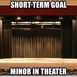 Theatre Madness - short term goal minor in theater