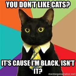 Business Cat - you don't like cats? it's cause i'm black, isn't it?