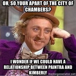 Oh so you're - Oh, so your apart of the city of chambers? I wonder if We could have a relationship between paintra and Kimberly