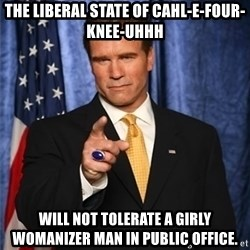arnold schwarzenegger - The liberal State of Cahl-E-Four-Knee-Uhhh will not tolerate a girly womanizer man in public office.
