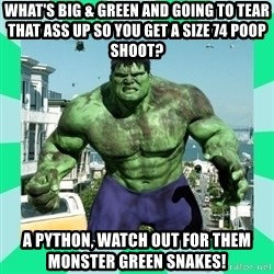 THe Incredible hulk - What's big & green and going to tear that ass up so you get a size 74 poop shoot? A python, watch out for them monster green snakes!