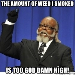 Too high - The amount of weed I smoked is too god damn high!