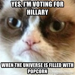 angry cat asshole - Yes, I'm voting for hillary when the universe is filled with popcorn