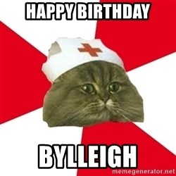 Nursing Student Cat - Happy Birthday Bylleigh