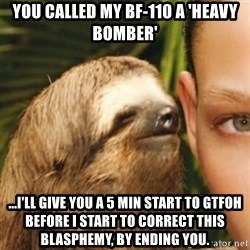 Whispering sloth - You called my Bf-110 a 'heavy bomber' ...I'll give you a 5 min start to gtfoh before I start to correct this blasphemy, by ending you.