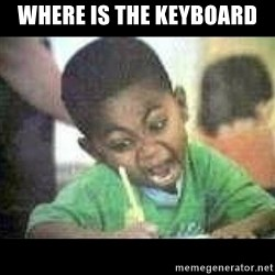 Black kid coloring - Where is the keyboard