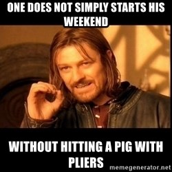 one does not  - one does not simply starts his weekend without hitting a pig with pliers