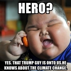fat chinese kid - Hero? Yes. That trump guy is onto us.He knows about the climate change.