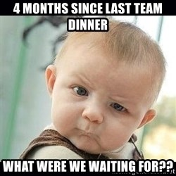 Skeptical Baby Whaa? - 4 months since last team dinner What were we waiting for??